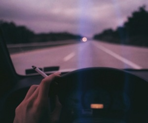 car, cigarette, and smoke image