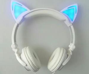 cat, headphones, and music image
