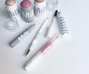makeup, makeup products, and milk image