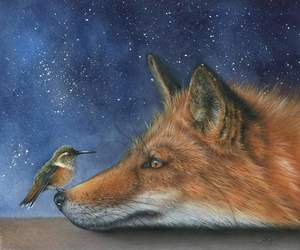 art, bird, and fox image