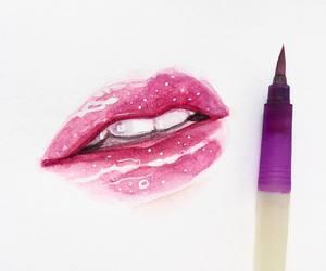 art, teeth, and watercolor image