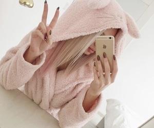 blonde, pink, and selfie image