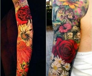 flowers, Tattoos, and color s image