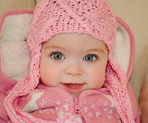 baby, pink, and eyes image