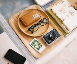 glasses, camera, and vintage image