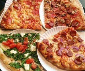 cheese, Chicken, and pizza image