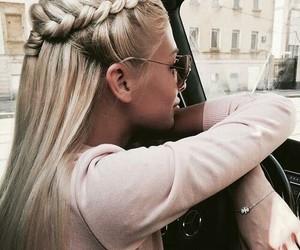 blonde, braided hair, and car image