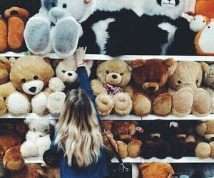 girl, bear, and shop image