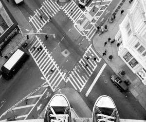 black and white, city, and shoes image