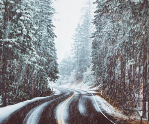 road, snow, and landscape image
