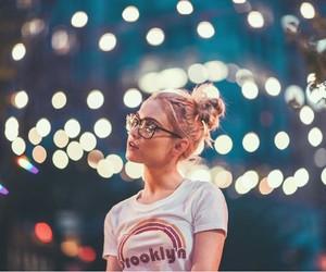 light, girl, and glasses image