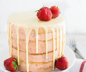 cake, strawberry, and buttercream image