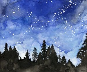 etsy, galaxy, and watercolor art image
