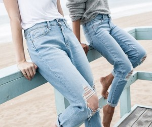 jeans, fashion, and beach image