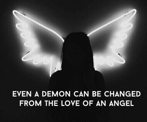 angel, black and white, and demon image