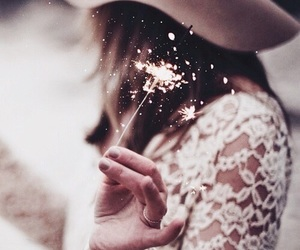 light, rose gold, and fireworks image