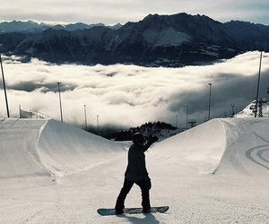 half pipe, mountains, and snowboard image