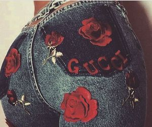 red rose, denim jeans, and want them image
