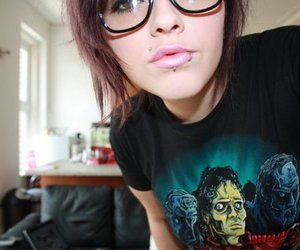 piercing, girl, and glasses image