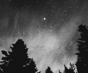 stars, black and white, and sky image