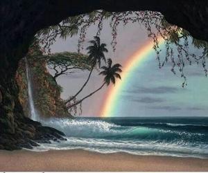rainbow and beach image