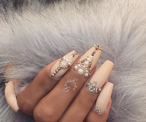nails, nail art, and pearls image