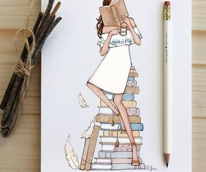 art, girl, and books image