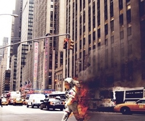 fire, astronaut, and city image