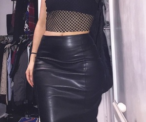 black, leather, and leather skirt image