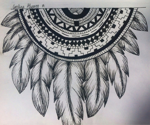 drawing, aztec, and hippie image