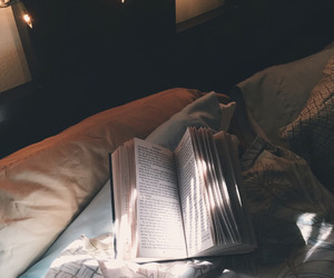 book, bed, and photography image