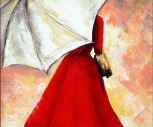 art, red, and umbrella image