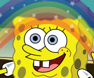 spongebob, rainbow, and imagination image