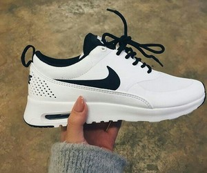 black & white, nike, and shoes image