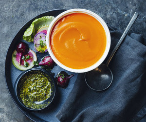basil, carrot, and salad image