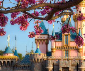 flowers, castle, and disneyland image