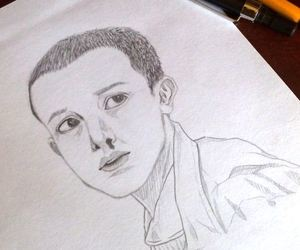 eleven, sketch, and stranger things image