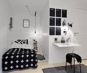 bedroom, room, and black image