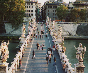 city, bridge, and people image