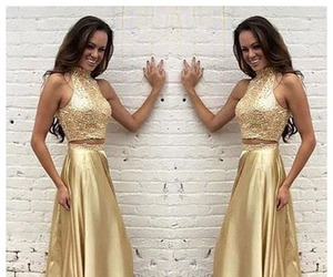 gold prom dress, new arrival prom dress, and pretty prom dresses image