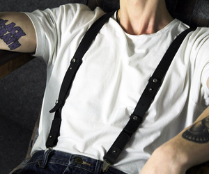 style, suspenders, and boy image