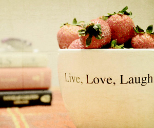 laugh, live, and strawberry image