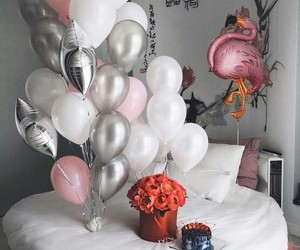 balloons, white, and pink image