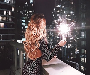 hair, dress, and light image