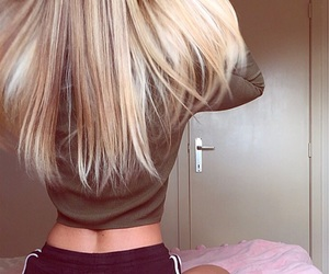 bed, blonde, and girl image