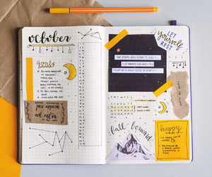 bullet journal, journal, and yellow image