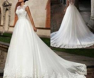 bride, white dress, and dress image