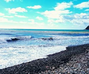 beach, blue, and photografy image
