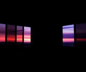 black, sky, and sunrise image