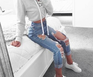 beauty, denim, and fashion image
